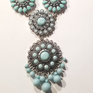 Jewelry - Faux Turquoise Multi Link Silver Tone  Necklace